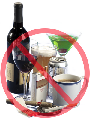 Image of wine, beer, soda, coffee, cigarettes,cigar, and cocktail with red circle and slash on top indicating don't use.