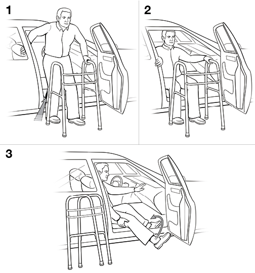 3 steps in getting into a car with a walker